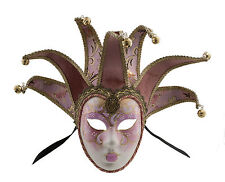 Mask from Venice Volto Jolly Pink and Golden 7 Spikes for Prom Costume 653 V79