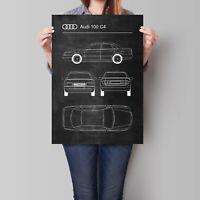 Audi 100 C4 Poster Retro Blueprint Art Print