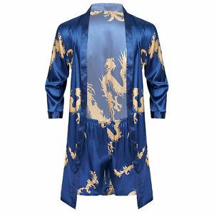 Men Satin Robe + Shorts Dragon Luxurious Silk Spa Long Sleeve Kimono Bathrobe