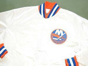 Vtg 1980s STARTER NEW YORK ISLANDERS HOCKEY TEAM WHITE SATIN JACKET XL NY RARE