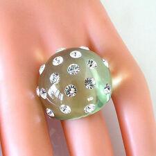 Luna Bianca Green Acrylic Domed Ring Sparkling Swarovski Element Crystals Size 6