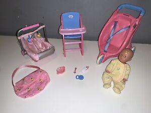 Zapf Creations Mini Baby Born Set, High Chair, Car Seat, Pram,