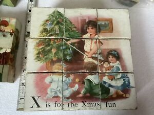 Antique Victorian Puzzle Blocks- Christmas 6 Different Litho Pictures Toys