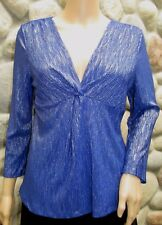 NWT Women's NY Collection Stretchy V-Neck Sparkly Blue/Purple Dress Top Petite M