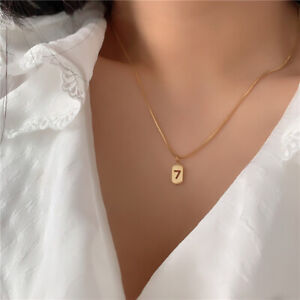 Ins Fashion Woman 18K Gold Plated Stainless Steel 7 Square Tag Chain Choker