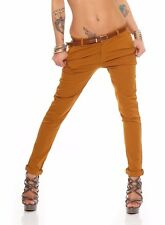 Skinny Chino Pant Hautenge Treggings Stretch-Stoff Damenhose mit Gürtel