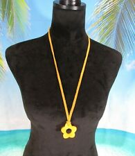 """Leather Strap Necklace with an Orange Flower Pendant 28"""""""
