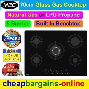 MEC 5 BURNER GAS COOKTOP GLASS BENCHTOP HOTPLATE 70cm NATURAL GAS LPG GAS MGH70B