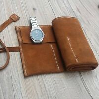 Vintage Soft Genuine Leather Brown Watch Roll up Case organiser 6 pouch bag