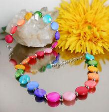 Hübsches Collier Perlmutt Muschel Perlen bunt  Regenbogen Chakra