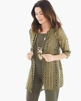 CHICOS TRAVELER'S 2 L 12 14 FOIL OPEN LACE JACKET TUSCAN OLIVE GOLD METALLIC NEW