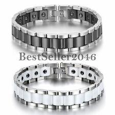Magnet Armband Edelstahl Keramik Fashion I Rechteck Link Magnetarmband Armreif