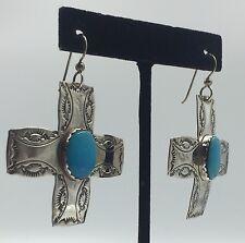 Joan Slifka Cowgirl Southwestern Sterling Silver Turquoise Dangle Earrings