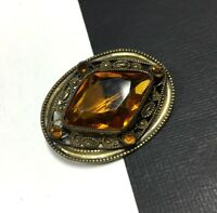 Beautiful Vintage ART DECO VICTORIAN Ornate Citrine Glass BRASS Brooch GG313i