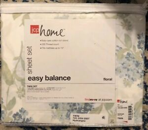 jcp home Hydrangea twin sheet set 300 count Blue Floral Flowers J C Penney NWT