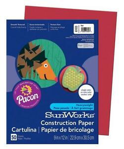 """SunWorks Construction Paper, Red, 9"""" x 12"""", 50 Sheets 50-Count, Red"""