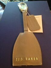 Ted Baker London Didler Stab Stitch Leather Key Chain Natural MSRP $60.00