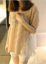 Korean-Women's Lace Flower Mixed Knit Sweater Tunic-Short Sleeves-Beige