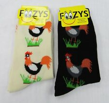 2 Pairs ROOSTER Chicken Cock Print Foozys Novelty Fun Socks Womens Girls Sox