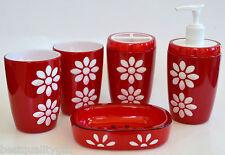 Neuf 5 Pc Set Rouge + Fleur Blanche Distributeur de Savon + Plat + 2 Verre +