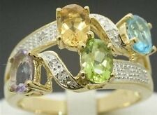 Multi Gemstone & Diamond 9ct 375 Solid Gold Ring - SZ N/7.0 - 30 Day Returns