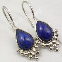 "925 Solid Silver Natural LAPIS LAZULI Lovely Sparkling Earrings 1 1/8"" New"