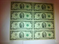 1976 Uncut Sheet of 8 Crisp USA 2 Dollars Uncirculated $2 LEGAL MONEY GIFT BILLS