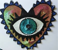 Large Sequin Eye Applique Patch Art Surreal Heart Costume Sparkly. Free P & P