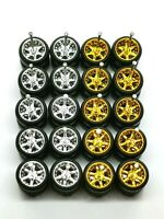 Hot Wheels 6 Spoke  Rubber Tire 10 sets Gold + Chrome MIX for JDM  1:64