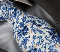 BLUE & WHITE FLORAL SILK TIE & HANKY - ITALIAN DESIGNER Milano Exclusive