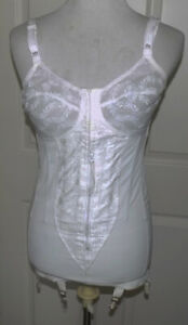Vintage White Young Smoothie Corset Lace Cups Zip Front Open Bottom 6 Garter 36C