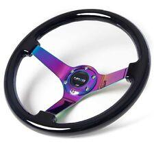 "NRG Steering Wheel Classic Black Wood Grain 350mm Neochrome Spoke 3"" Deep Dish"