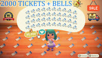 Animal Crossing New Horizons 2000 NMT 🎫 Nook Miles Ticket + 3 MILLIONS BELLS 🔔