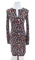 Tory Burch Floral Folk Print Keyhole Tunic Shift Dress Work Stretch Blue Sz XS