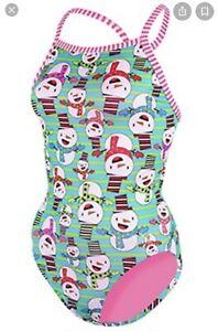 "Dolfin Uglies ""Snow What Fun"" One Piece Practice Swimsuit Xmas Size 38 (12) NWT!"