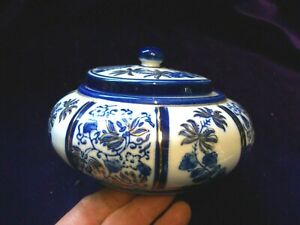 6 INCH DIAMETER/BLUE AND WHITE WITH A TOUCH OF GOLD/BOWL AND COVER