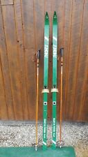 """VINTAGE Wooden 74"""" Skis Has GREEN  Finish Signed SUNDINS + Bamboo Poles"""