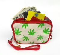 Marijuana Leaf Coin Purse Wristlet Red Beige Canvas Pot Leaves ID Wallet Pouch