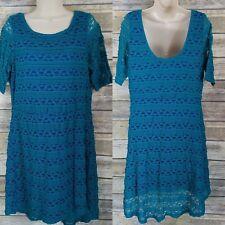 Takara Size XL Lace Dress Teal Green Blue Underdress High-Low Hem Womens