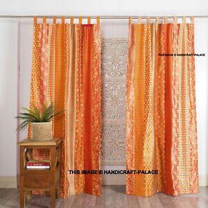 2 Pcs Indian Sari Patchwork Curtain Drape Window Decor Orange Silk Sari Curtain