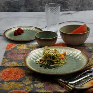 Laurie Gates Nova 16-Piece Stoneware Dinnerware Set - GREEN * FAST SHIPPING *