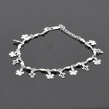 "18k White Gold Filled Bracelet 9.4""Chain Anklet Link Cross Dangle GF Jewelry New"