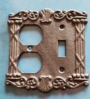 Vintage Black Iron Art Cast Iron Light Switch Outlet Cover Classical Columns