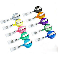 5PC Chic Retractable Reel Recoil ID Badge Lanyard Name Tag Key Card Holder Clips