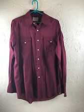 Vintage H Bar C Ranchwear Pearl Snap Western Shirt Mens Burgandy Made in USA