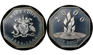 5 Dollars 1986 Barbados 🇧🇧Silver Proof Coin / Elizabeth II Millennium # 67