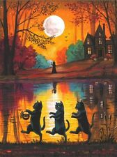 1.5x2 DOLLHOUSE MINIATURE PRINT OF PAINTING RYTA 1:12 SCALE HALLOWEEN BLACK CAT