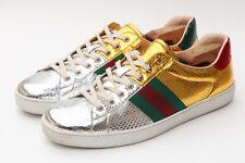 Gucci Ace Style 450881 Metallic Snakeskin Gold Silver Mens Sneaker UK 11 - US 12