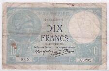 BILLET 10 FRANCS MINERVE QU 4 12 1941 QU 949 E 85292