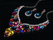 MULTI COLOR GLASS crystal rhinestone luxury wrap necklace/earrings Set US SELLER